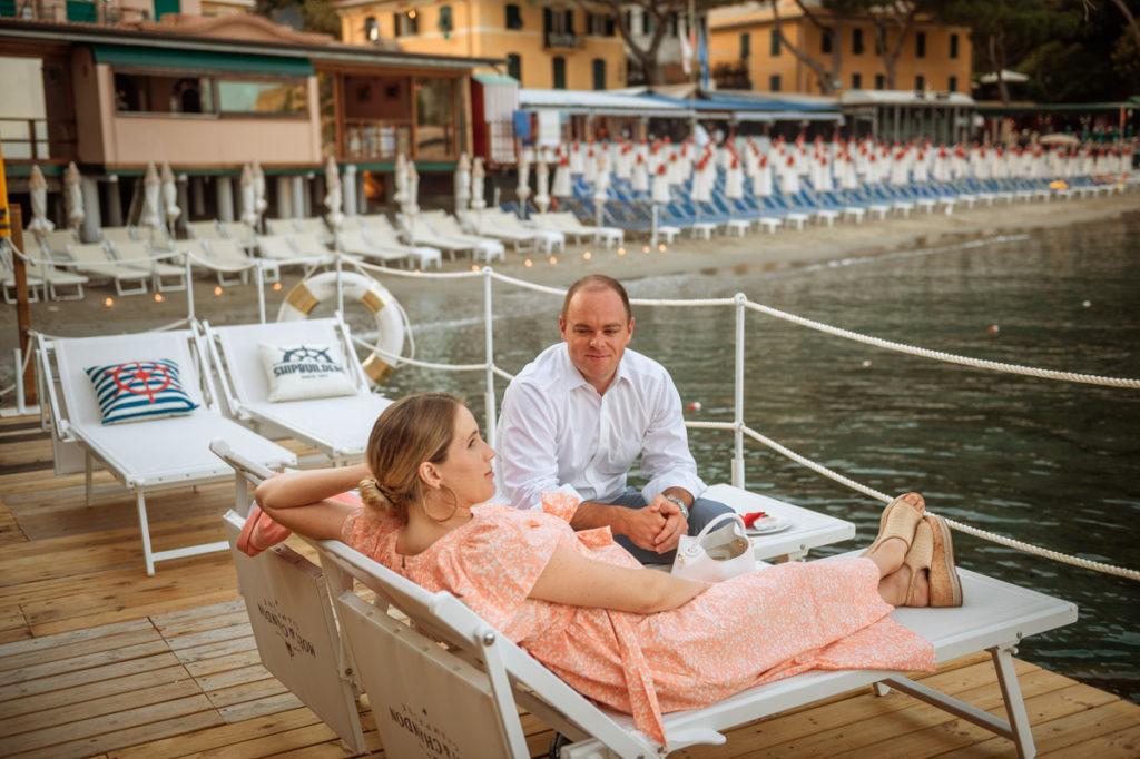 lettini spiagge matrimonio Portofino ricevimento