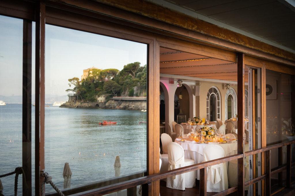 vetrata ristorante matrimonio Portofino ricevimento