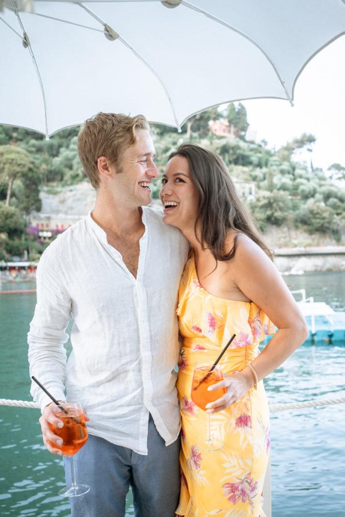 coppia sposi aperitivo ristorante matrimonio Portofino ricevimento