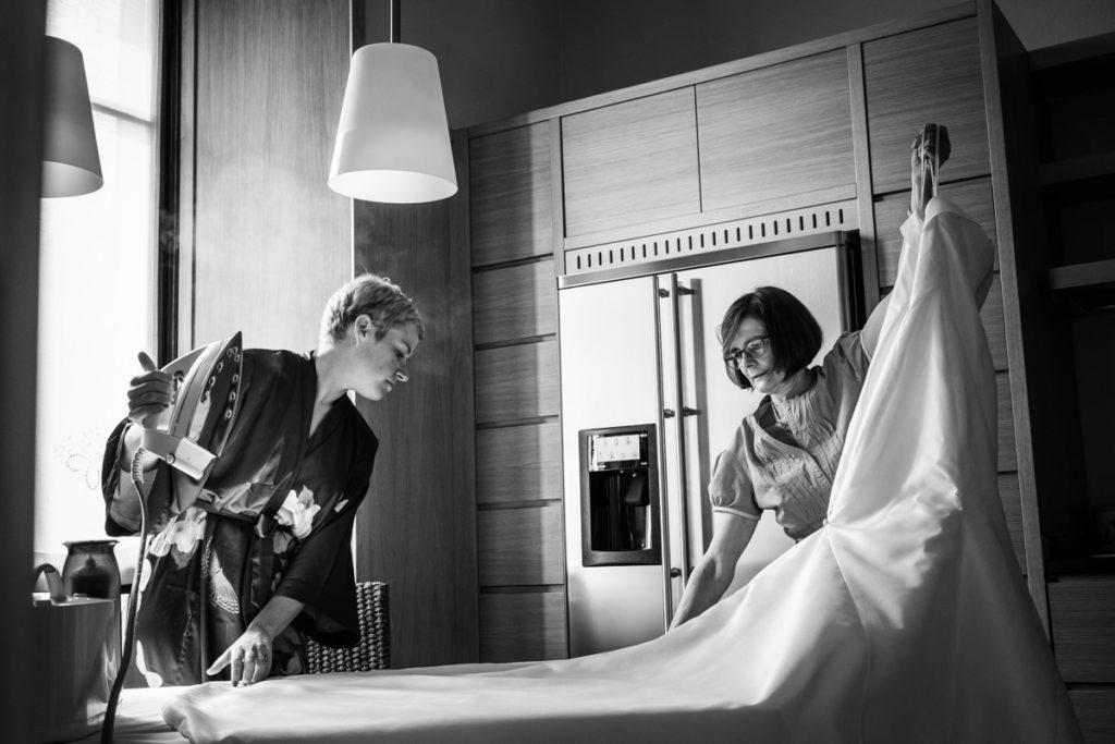 stirare vestito matrimonio sposa