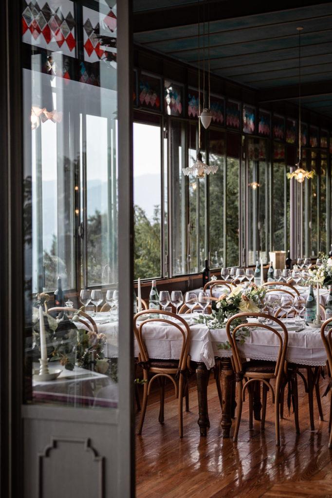 ristorante bellavista addobbato per il matrimonio