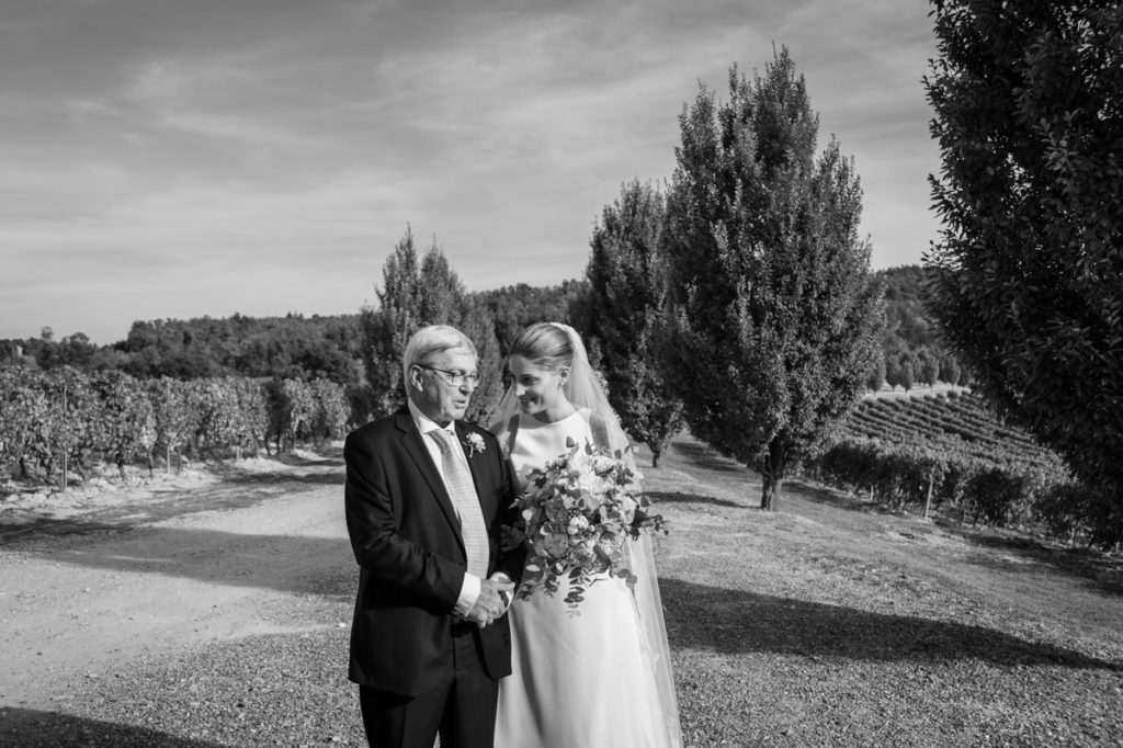 bride dress father wedding best photographer reportage bw photos Italy Piedmont authorial photography emotional country