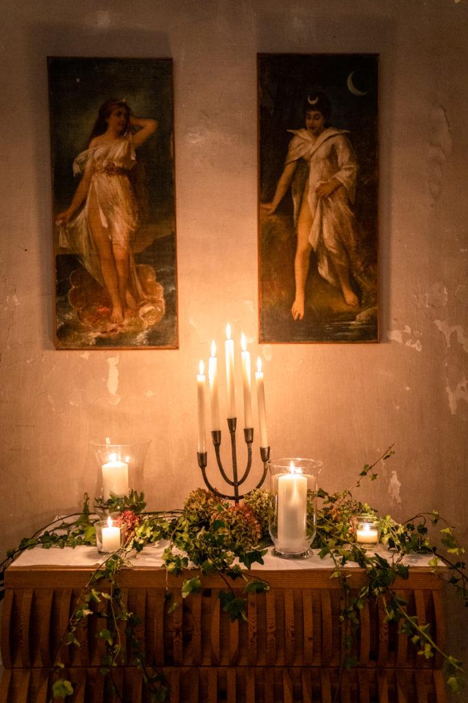 fotografo matrimonio reportage top servizio foltografico Trento Italia cena candele atmosfera villa dimora antica allestimento dettagli