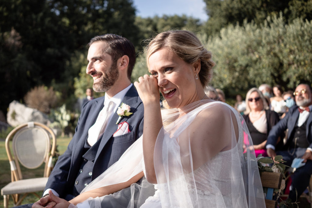 cerimony wedding photographer reportage cry bride groom La Ginestra Liguria Italy elegant summer events best location